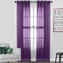 Volie Purple Sheer Eyelet Curtain Panel