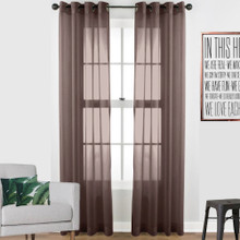 Volie Brown Sheer Eyelet Curtain panel