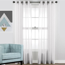 SHIMMER Voile soft drape sheer eyelet curtain panel white