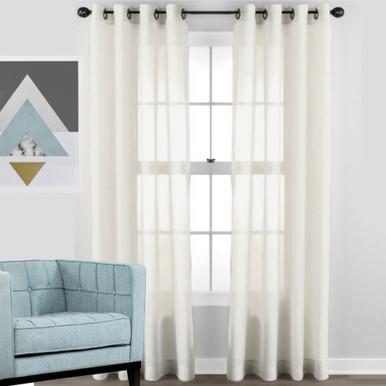 shimmer voile soft drape sheer eyelet curtain panel off white ivory - Sheer Curtain Panels