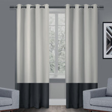 Texas Putty and Black Eyelet Blackout Curtain Panel Quickfit | Almost Gone!