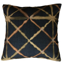 Shibori Charcoal and Bronze Diamond Cushion Cover 45cm x 45cm
