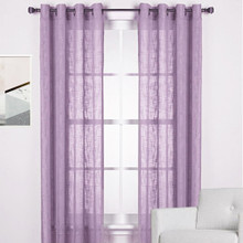 HOMESPUN Linen Look Sheer Eyelet Curtain Panel PURPLE | New!