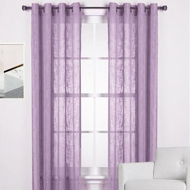 Linen Look Curtains Purple Curtains Light Filtering