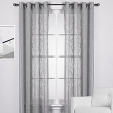 HOMESPUN Linen Look Eyelet Curtain Panel GREY | 2 Sizes!