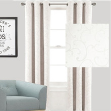 Swirl Blockout Eyelet Curtain Ecru