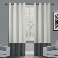 Texas Putty and Grey Eyelet Blackout Curtain Panel Quickfit | Designer Pick