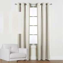 Melbourne Eyelet Curtain Panels Blockout Stripe ECRU | New