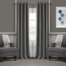JAMES Thermal Weave Eyelet Curtain Panel 140cm x 221cm CHARCOAL