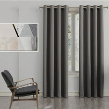 250 cm Drop Charcoal Grey Blockout Eyelet Curtain Panel | 2 Sizes!