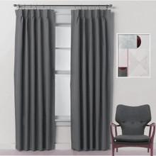 Bond 250cm Drop Pinch Pleat Room Darkening Soft Drape Curtains CHARCOAL