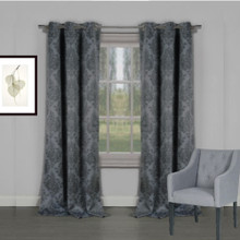 Venice Blockout Damask Eyelet Curtains CHARCOAL | Sold Out!