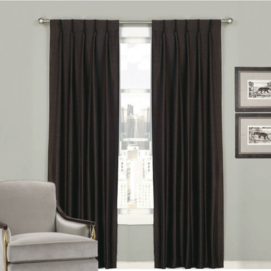 Villa Pinch Pleat Faux Silk Shantung Black | 4 Sizes