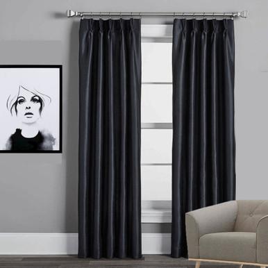 Villa Pinch Pleat Faux Silk Shantung Black   4 Sizes