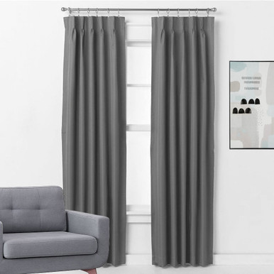 bond pinch pleat blockout thermal curtains charcoal grey 4 sizes