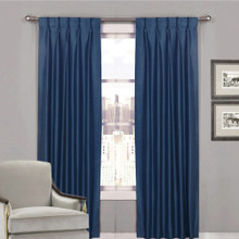 Villa Shantung Faux Silk Pinch Pleat Curtains Navy Blue | 4 Sizes
