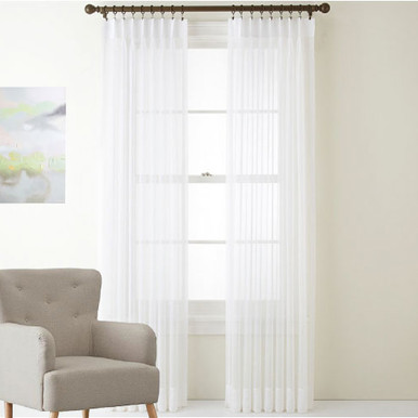 shimmer voile pinch pleat curtains white - White Sheer Curtains
