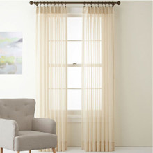 Shimmer Voile Pinch Pleat Curtains Beige | New | 4 Sizes
