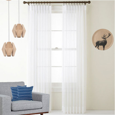 Cotton Look Voile Pinch Pleat Curtains White | New | 4 Sizes