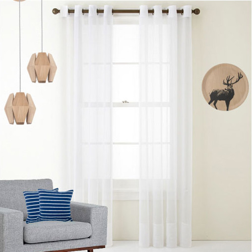 Cotton Look Sheer Eyelet Voile Curtain White Quickfit