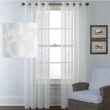 LEAF embossed sheer eyelet curtain panel white | Designer Pick | 2 Sizes