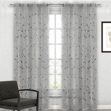 SILVER GREY Premium Sheer Eyelet Curtain Panel Autumn Leaf
