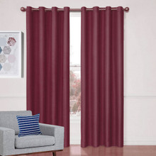 Aspen Textured Blockout Curtains BURGUNDY | 4 Sizes