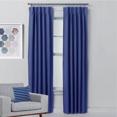 Aspen Blockout Pinch Pleat Textured Curtains BLUE   4 Sizes!