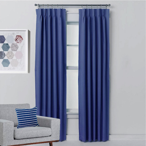Pinch Pleat Curtains Blue Curtains Blockout Drapes