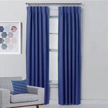 Aspen Blockout Pinch Pleat Textured Curtains BLUE | 4 Sizes!
