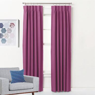 ASPEN Textured Blockout Pinch Pleat Curtains PINK | 4 Sizes!