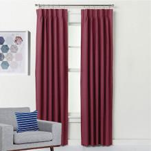 ASPEN Textured 100% Blockout Pinch Pleat Curtains BURGUNDY | New