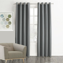 MEMPHIS Textured Fabric 100% Blockout Eyelet Curtains GREY | Sold Out