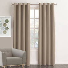 MEMPHIS Textured Fabric 100% Blockout Eyelet Curtains TAUPE | New!