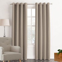 HOUSTON Blockout Eyelet Curtains LATTE | New!
