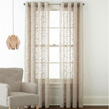 Sheer Eyelet Gold Patterned Curtain Panel