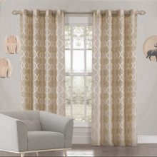 LEX TAUPE DIAMOND Premium Sheer Eyelet Curtain Panel Quickfit