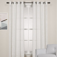 HOMESPUN Linen Look Eyelet Curtain Panel WHITE