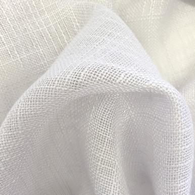 HOMESPUN Linen Look Sheer Fabric Swatch WHITE