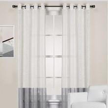 HOMESPUN Linen Look Sheer Eyelet Curtain Panel WHITE GREY
