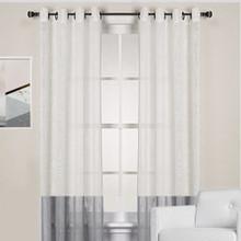 homespun linen look sheer eyelet curtain panel whitegrey new