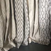 CHEVRON Blockout Eyelet Curtain Panel CHARCOAL GREY