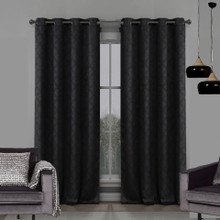 Atlanta Premium Blockout Eyelet Curtain Panel | Black