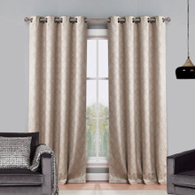 Atlanta Premium Blockout Eyelet Curtain Panel | Latte