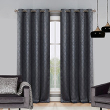 Atlanta Premium Blockout Eyelet Curtain Panel | Charcoal
