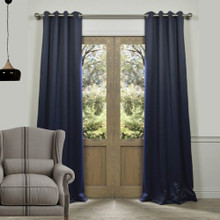 BLOCKOUT EYELET CURTAINS DARK BLUE