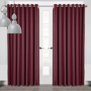 Miami Eyelet Thermal Room Darkening Curtain Panel Burgundy | 4 Sizes!