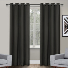 250cm drop Texas Black Eyelet Blackout Curtain Panel Quickfit