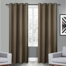 250CM DROP Texas Brown Eyelet Blackout Curtain Panel Quickfit