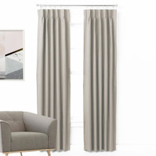 ASPEN Textured 100% Blockout Pinch Pleat Curtains PUTTY | New | 4 Sizes